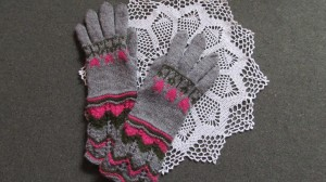 Handknitted long gloves