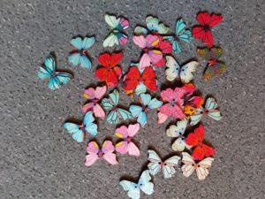 Wooden button - butterfly